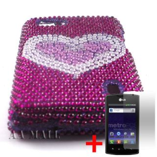 HEART PURPLE DIAMOND BLING GEM COVER HARD CASE LG OPTIMUS M MS695 SP