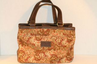 Relic by Fossil, Brown Paisley Print Cotton Fabric Handbag, Purse Pre