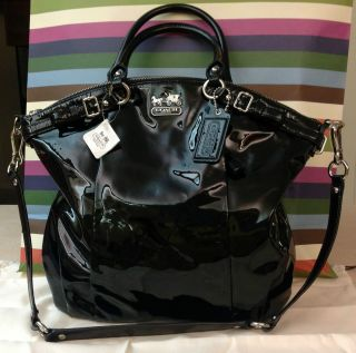 NWT Coach Madison Lindsey Black Patent Leather Satchel Purse Handbag