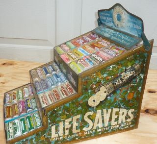 ANTIQUE LIFE SAVER CANDY STORE DISPLAY LARGE RARE WITH 28 VINTAGE