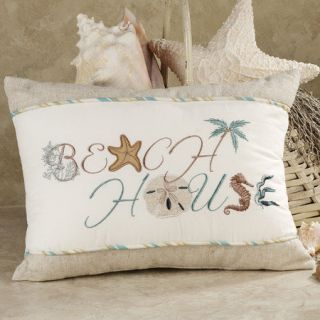 Beach House Accent Throw Pillow Linen Taupe Starfish Coastal Shore