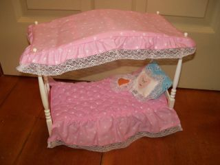 1982 Vintage Barbie Dream House Canopy Pink Bed with Linens