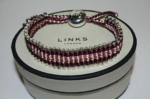 New Links of London Burgundy Purple Pink Friendship Bracelet 39 Silver
