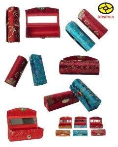 12 Brocade Lipstick Cases Holder w Mirror YBS369C02