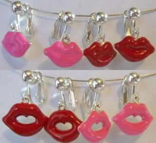 Pink Sexy Kiss Me Open Closed Lips Charm Earrings U Choose USA