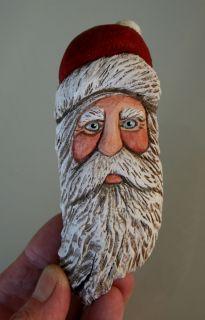 Carved JOLLY Red Hat Santa Ornament Original OOAK Carving Lisa Rogers