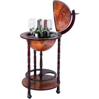 Old World Map Globe Mini Bar w Stand Wine Liquor Bottle Storage