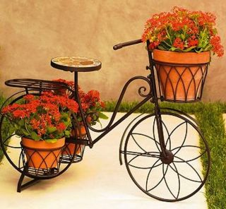 Sonoma Outdoor Bicycle Plant Stand 5 planter pot holders Garden Yard
