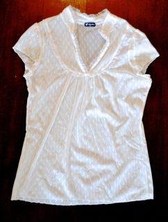 Lily White Sheer Lace Ivory Ruffle Top Blouse Shirt Womens Medium M