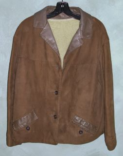 Deerskin Jacket Cognac Brown Suede Trim Zip Out Shearling Lining M L