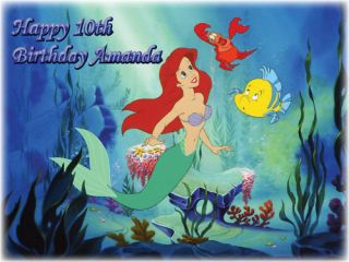 Ariel Little Mermaid Edible Cake Image Icing Topper