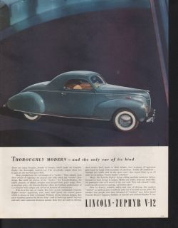 1938 Lincoln Zephyr V 12 Car Auto Motor Engine Luxury