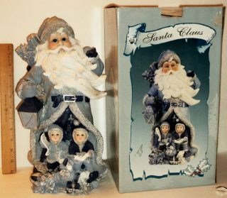 """Lincolnshire Christmas Collection 14"""" Blue Dressed Santa Claus w"""