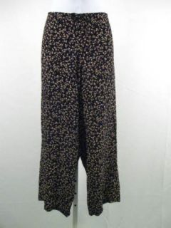 Betsey Johnson Black Floral Cropped Drawstring Pants P