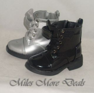 Little Girls Black or Silver Black Lace Up Combat Boots