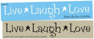 Primitive STENCIL Live Laugh Love Country Star Family Home Signs Art