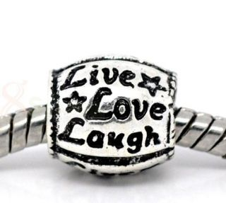 20 Live Love Laugh Beads Fit Charm Bracelet 10x10mm