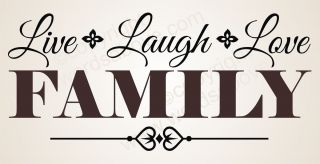 Live Laugh Love Family Vinyl Wall Quote Word Decal Home Decor