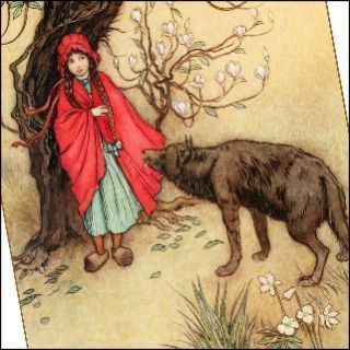 Fridge Magnet Picture Little Red Riding Hood French Fairy Tale Vtg