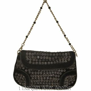 Liz Claiborne Clip to The Hip Black Velvet N Sequins Mini Clutch Purse
