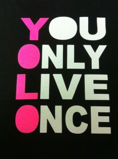 You Only Live Once YOLO Mens Black Neon Tshirt