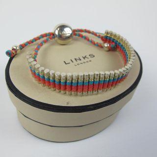 New Genuine Links of London Coral Pink Gold Blue Friendship Bracelet