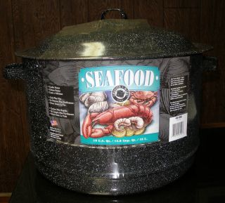 Black Seafood Lobster Pot Steamer Cooker 19 Qt New Columbian Home