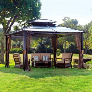 10 x 12 Hardtop Metal Steel Roof Outdoor Patio Gazebo w Aluminum Poles
