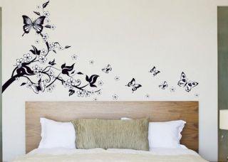 Butterfly FlowerVine Wall Sticker Mural Living Room Wallpaper Decor