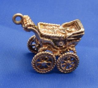 Vintage English Sterling Silver Baby Carriage Pram Charm Marked Silver