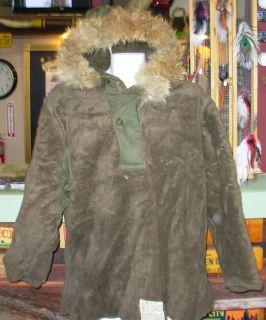 Vintage 1940s WWII US Army Pile Field Parka Fur Hood Jacket M