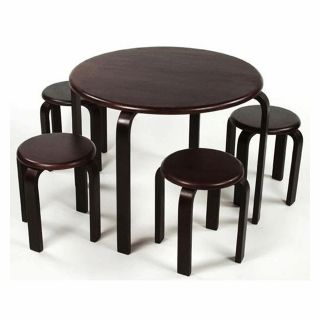 Lipper 5 PC Art Wood Table 4 Stools Chairs Kids Set Expresso MSRP $199