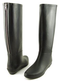 LOEFFLER RANDALL RAIN BOOT Black Womens Designer Shoes Back Zipper