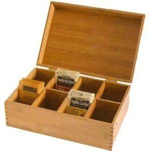 Lipper International Bamboo Tea Bag Storage Box New