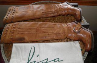 Boots Womens Lisa for Donald Pliner Barco Brown Cognac Sz 6 5 Leather