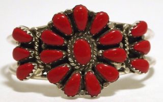 Navajo Coral Sterling Silver Baby Cuff Bracelet Lisa Williams