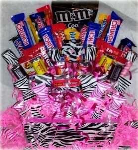 Zebra Candy Blast Candy Bouquet Gift Basket chocolate, m & m, skittles