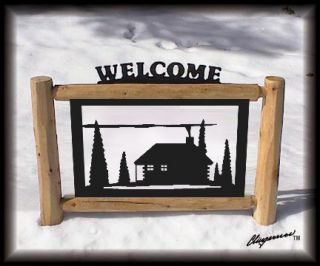 Rustic Log Sign Cabin Decor Outdoor Signs Log Fencing