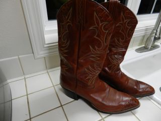Vtg Dan Post Exotic Hornback Lizard and Leather Western Cowboy Boots