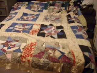 Vintage Cutter Quilt Crazy Star Pattern 1940s Era