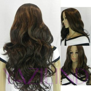 Long wavy curly brown black no bangs cosplay costume party full hair
