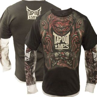 Mens Gargoyle MPS UFC MMA Cage Fighter Long Sleeve Tee Grey