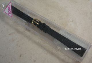 Timex Black Lizard Grain Leather 11mm Long Replacement Watch Band
