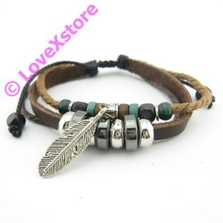 Brown Real Leather Longleaf Hemp Bracelet Braided Bracelets Wristband