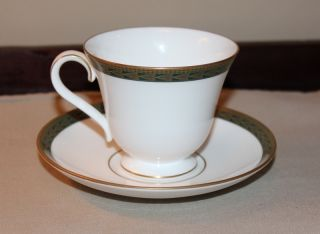 Waterford Longfield Cup and Saucer New with Tags Gold Green White