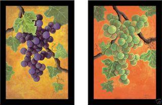 White Wine Grapes Fruit Art Framed Print Set Jennifer Lorton