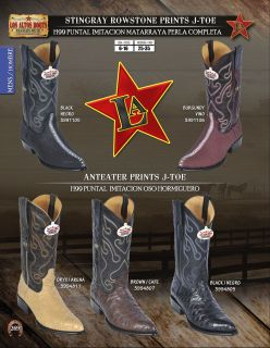 Los Altos J Toe Stingray Anteater Print Mens Western Cowboy Boot Diff