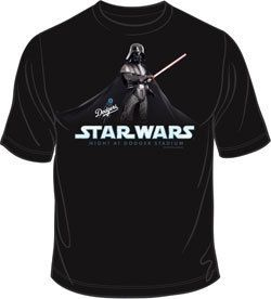 Los Angeles Dodgers Star Wars Darth Vader T Shirt 2011 SGA 9 16 New M