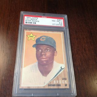1962 Topps Lou Brock Rookie PSA 8 5 NM MT Pop 1 6 Only 20 Higher of 1