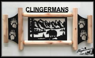 BEAR CLINGERMANS OUTDOOR SIGNS RUSTIC LOG DECOR HUNTING WILDLIFE ART